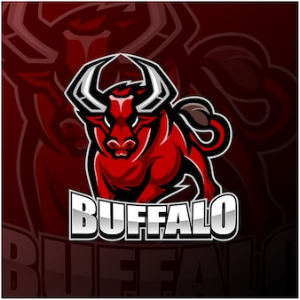 Logotipo da mascote esportivo de búfalo