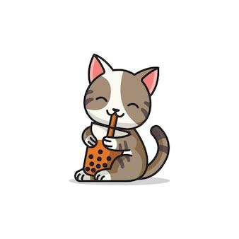 Logotipo da mascote fofa do gato boba