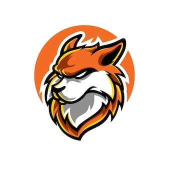 Logotipo da mascote fox head e sport
