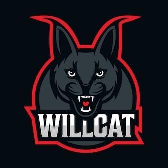 Logotipo da mascote gato selvagem