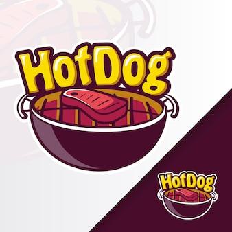 Logotipo da mascote grill hotdog pan bbq