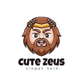 Logotipo da mascote kawaii de desenho animado fofo da zeus