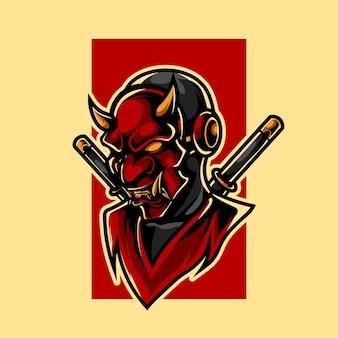 Logotipo da mascote oni ninja e sport