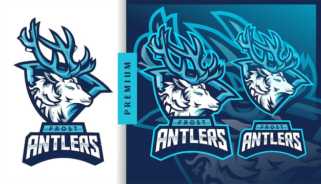 Logotipo da mascote para jogos de futebol americano frost antlers