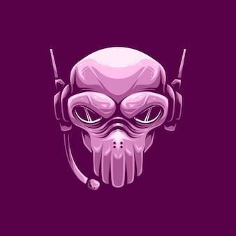 Logotipo da mascote pinky skull