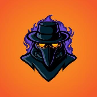 Logotipo da mascote plague head e sport
