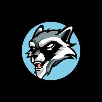 Logotipo da mascote racoon e sport