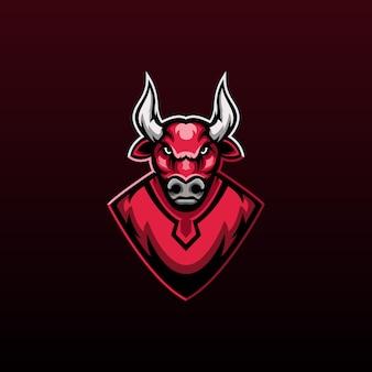 Logotipo da mascote red bull para jogos em equipe
