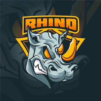 Logotipo da mascote rinoceronte selvagem