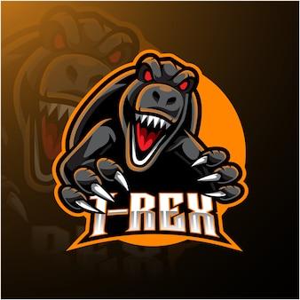 Logotipo da mascote t-rex esport