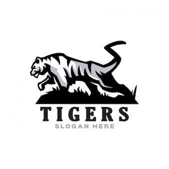 Logotipo da mascote tigre branco elegante para várias atividades