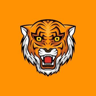 Logotipo da mascote tigre cabeça brava