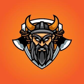 Logotipo da mascote viking e sport