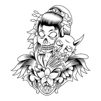 Logotipo da mascote vintage com caveira de gueixa