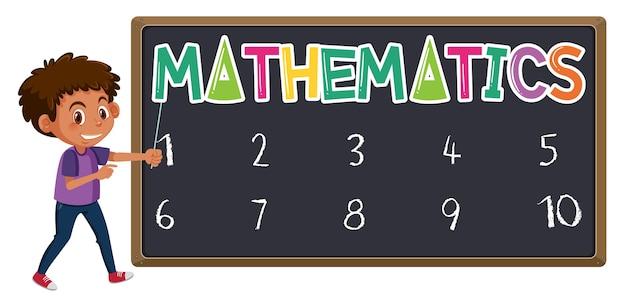 Logotipo da matemática no quadro-negro com o menino em pé