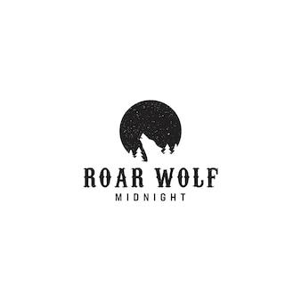 Logotipo da meia-noite do lobo do rugido do vintage