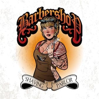 Logotipo da menina de barbeiro
