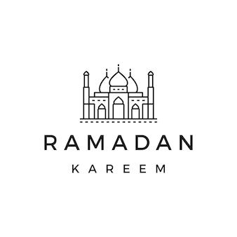 Logotipo da mesquita ou ramadan kareem logo design stock, com linha, estrutura de tópicos, estilo de design monoline