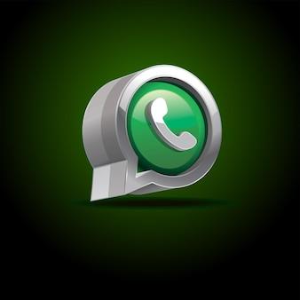 Logotipo da mídia social whatsapp 3d