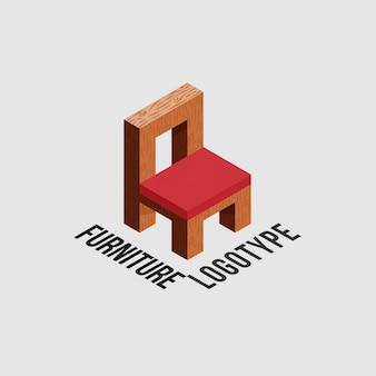 Logotipo da mobília com cadeira de madeira