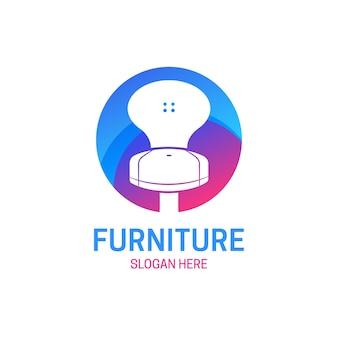 Logotipo da mobília com cadeira