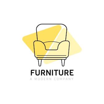 Logotipo da mobília com poltrona Vetor grátis