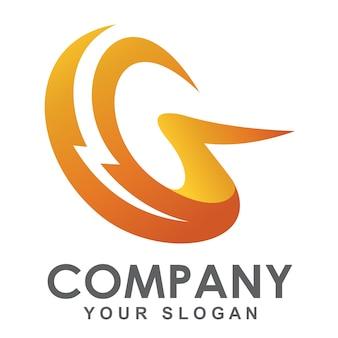 Logotipo da moda g com símbolo de relâmpago, logotipo