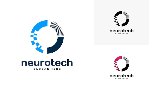 Logotipo da modern abstract circle technology, logotipo da neurotech
