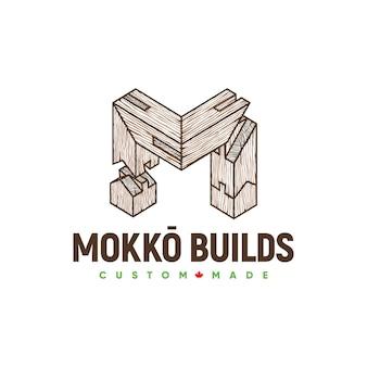 Logotipo da mokko buids dovetail woodworking