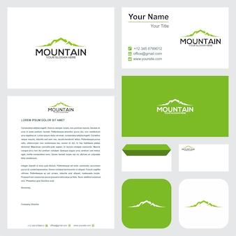 Logotipo da montanha com cartão de visita
