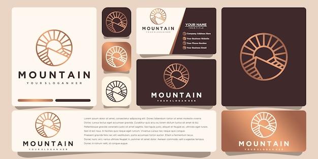 Logotipo da montanha com modelo de cartão de visita