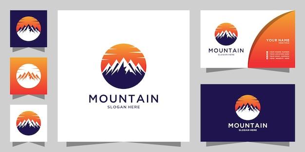 Logotipo da montanha e cartão de visita
