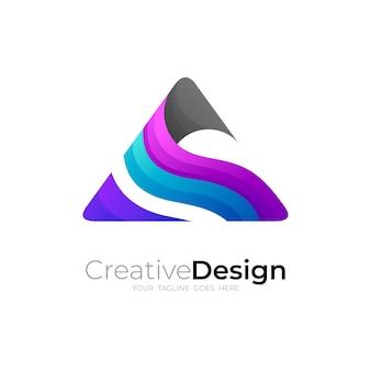 Logotipo da montanha e colina com desenho triangular colorido