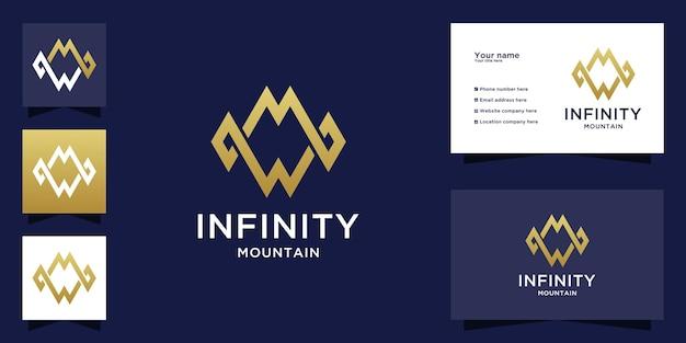 Logotipo da montanha infinita com design inicial da letra mw