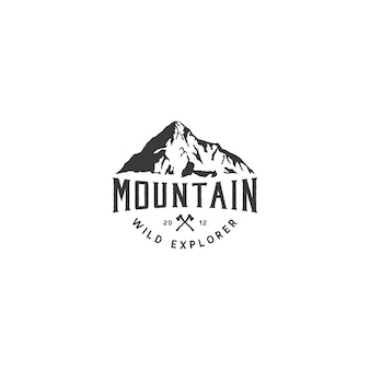 Logotipo da montanha para aventura e design de logotipo ao ar livre