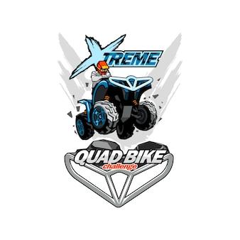 Logotipo da moto quad extreme, fundo isolado.