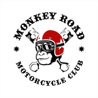 Logotipo da motocicleta da estrada do macaco