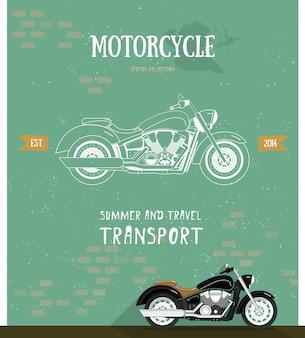 Logotipo da motocicleta em estilo plano e linha.