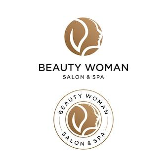 Logotipo da mulher da beleza com modelo de design do emblema