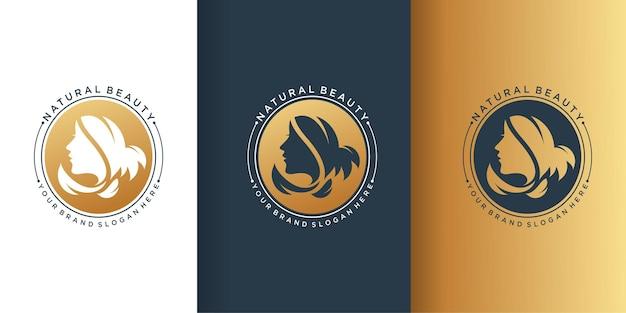 Logotipo da mulher de beleza com gradiente dourado moderno