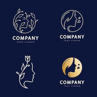 Logotipo da mulher de beleza para o seu salão de negócios, cuidados com a pele e spa