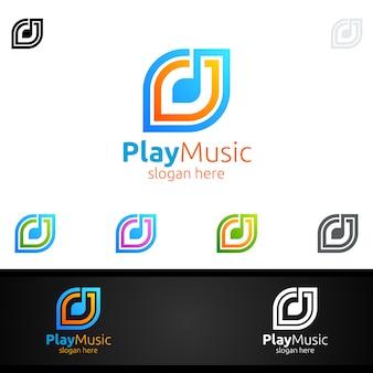Logotipo da música abstrata com nota e jogar conceito