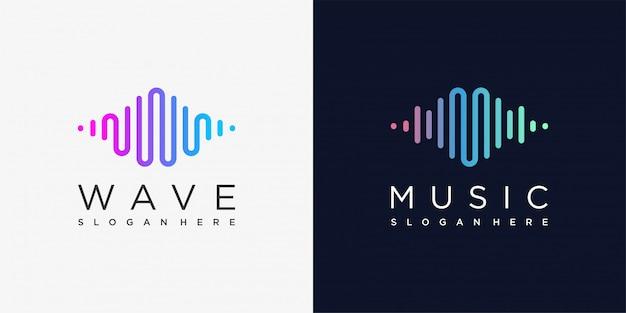 Logotipo da música com estilo de arte de linha e conceito moderno, moderno, gradiente, música