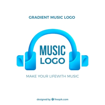 Logotipo da música com estilo gradiente