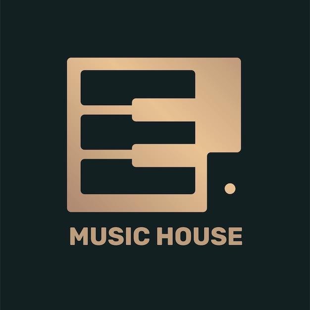Logotipo da música da tecla de piano achatado em preto e dourado