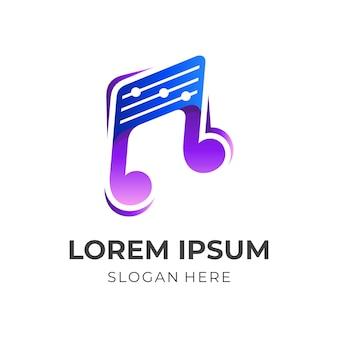 Logotipo da música, nota e equalizador, logotipo de combinação com estilo de cor azul e roxo 3d