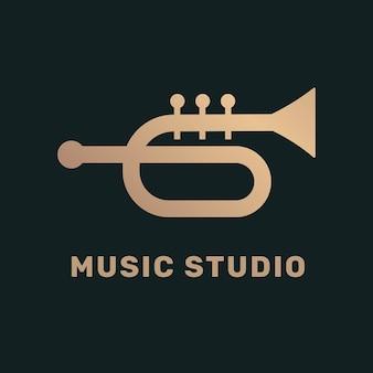 Logotipo da música plana de trompete em preto e dourado