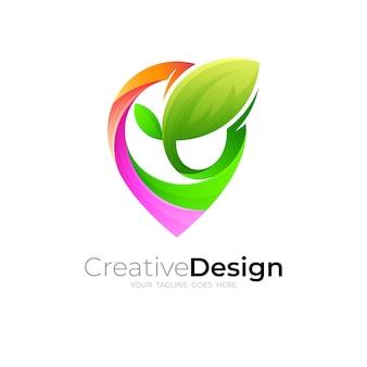 Logotipo da nature e ilustração do design do local, leaf e logotipo do local