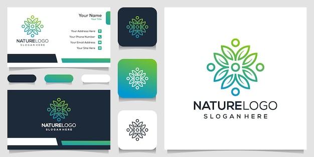 Logotipo da natureza abstrata e modelo de cartão de visita