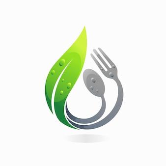 Logotipo da natureza alimentar com conceito de folha